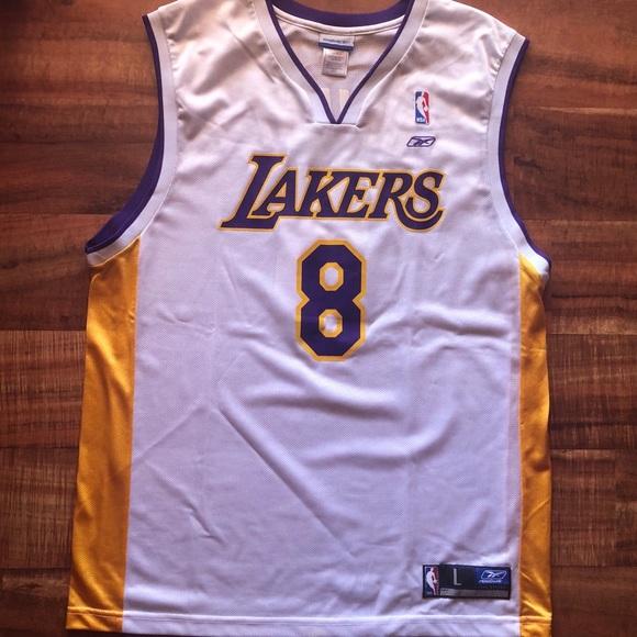 check out dec35 91247 Reebok Kobe Bryant White Lakers Jersey
